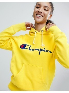 Champion Hoodie With Script Chest Logo - Yellow