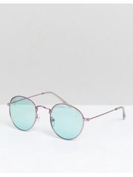 ASOS DESIGN round sunglasses in pink metal with green lens - Pink