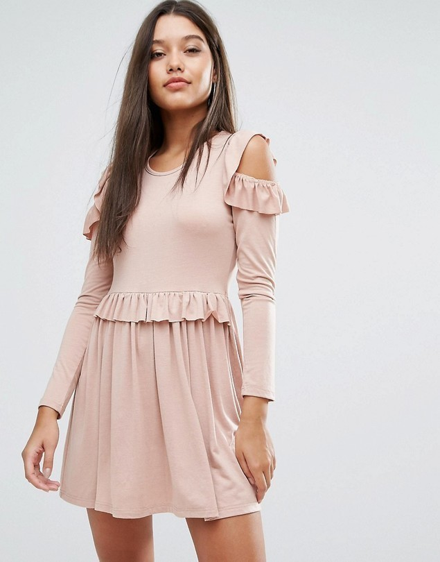 Missguided Frill Cold Shoulder Mini Dress - Pink
