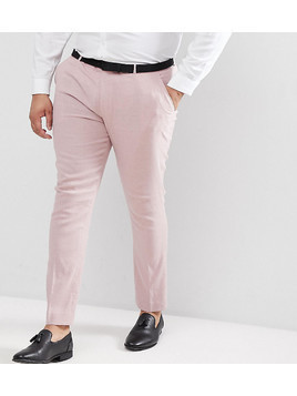 ASOS PLUS Wedding Super Skinny Smart Trousers In Pink Linen - Pink
