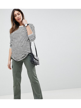 ASOS DESIGN Maternity Straight Leg Stretch Trousers With Pockets In Light Khaki And Under The Bump Waistband - Green