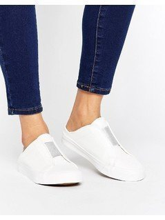 New Look Metallic Slip On Trainer - White