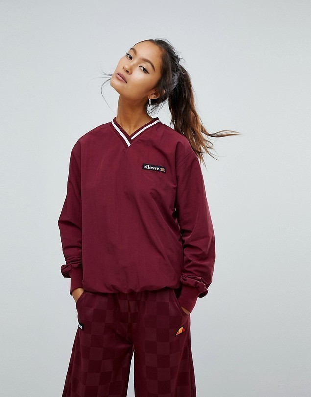 Ellesse Oversized V-Neck Track Top - Red