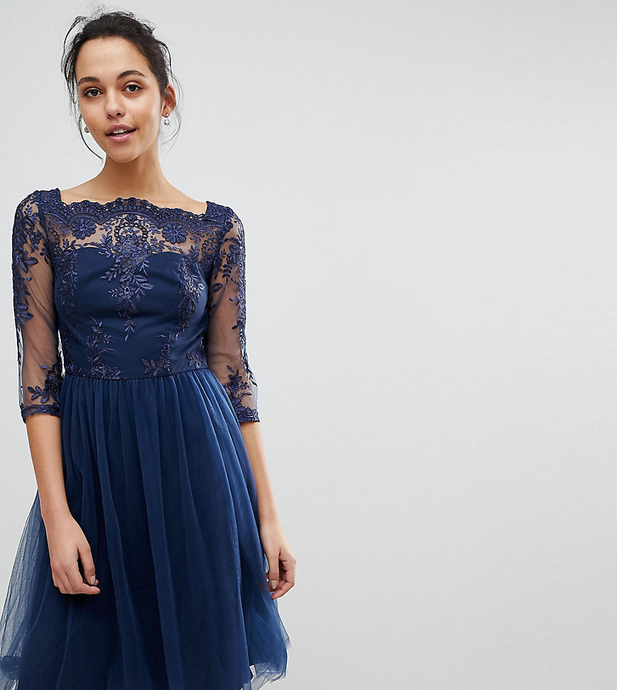 Chi Chi London Bardot Neck Midi Dress with Premium Lace and Tulle Skirt - Navy