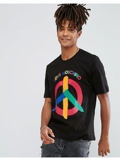 Love Moschino Peace Logo T-Shirt - Black