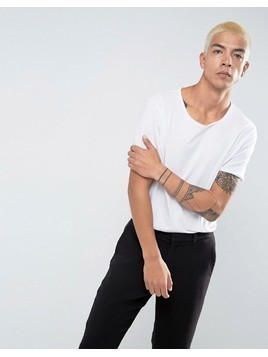 Weekday Dark Raw Edge T-Shirt - White