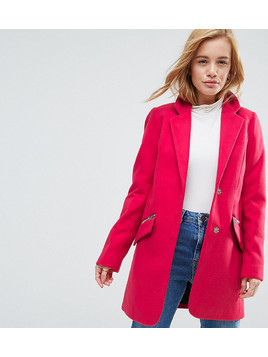 ASOS PETITE Slim Boyfriend Coat with Zip Pocket - Pink