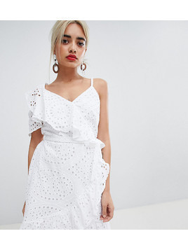 River Island Petite Wrap Front Asymmetric Mini Dress - White
