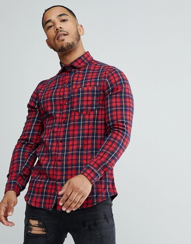 boohooMAN Regular Fit Shirt In Red Check - Red