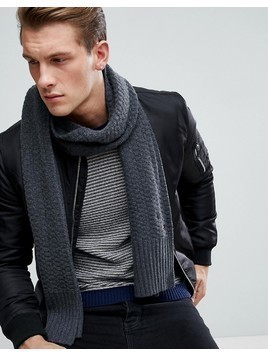 Tommy Hilfiger Textured Knit Scarf in Charcoal Heather - Grey