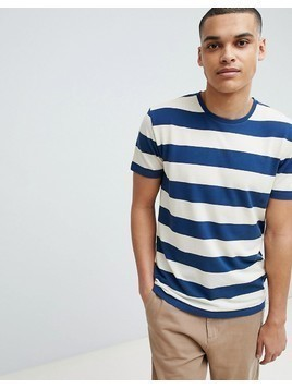 Selected Homme Stripe T-Shirt In Organic Cotton - White