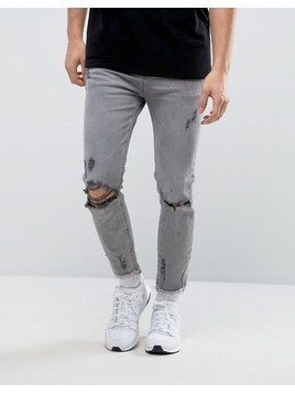 Bershka Skinny Jeans In Grey With Raw Hem - Grey