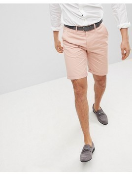 Solid Slim Fit Chino Short In Pink - Pink