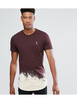 Religion TALL Longline T-Shirt With Bleach Curved Hem - Red