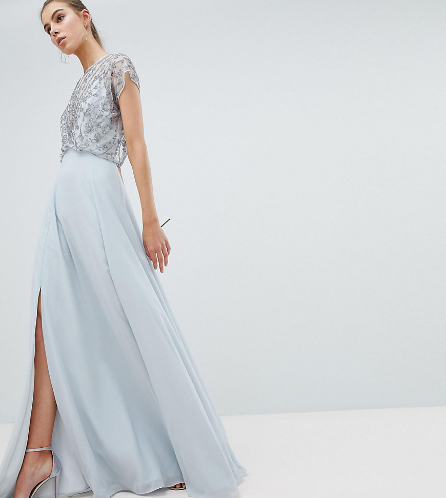 ASOS DESIGN Tall Bridesmaid delicate beaded bodice maxi dress - Grey