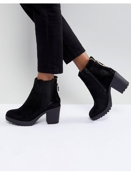 River Island Chunky Heel Zip Back Heeled Boots - Black