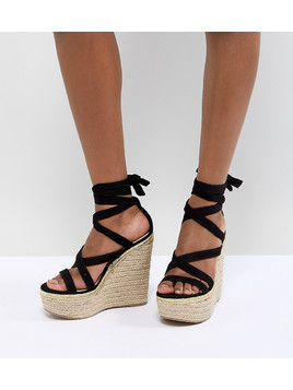 ASOS DESIGN Trophy Tie Leg High Wedges - Black