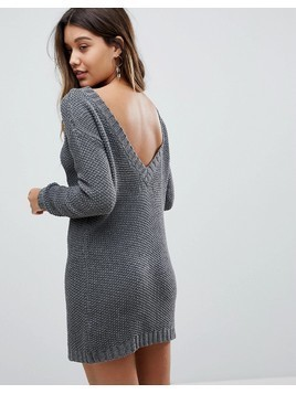 Fashion Union Jumper Dress In Cable Knit With Deep V Back - Grey