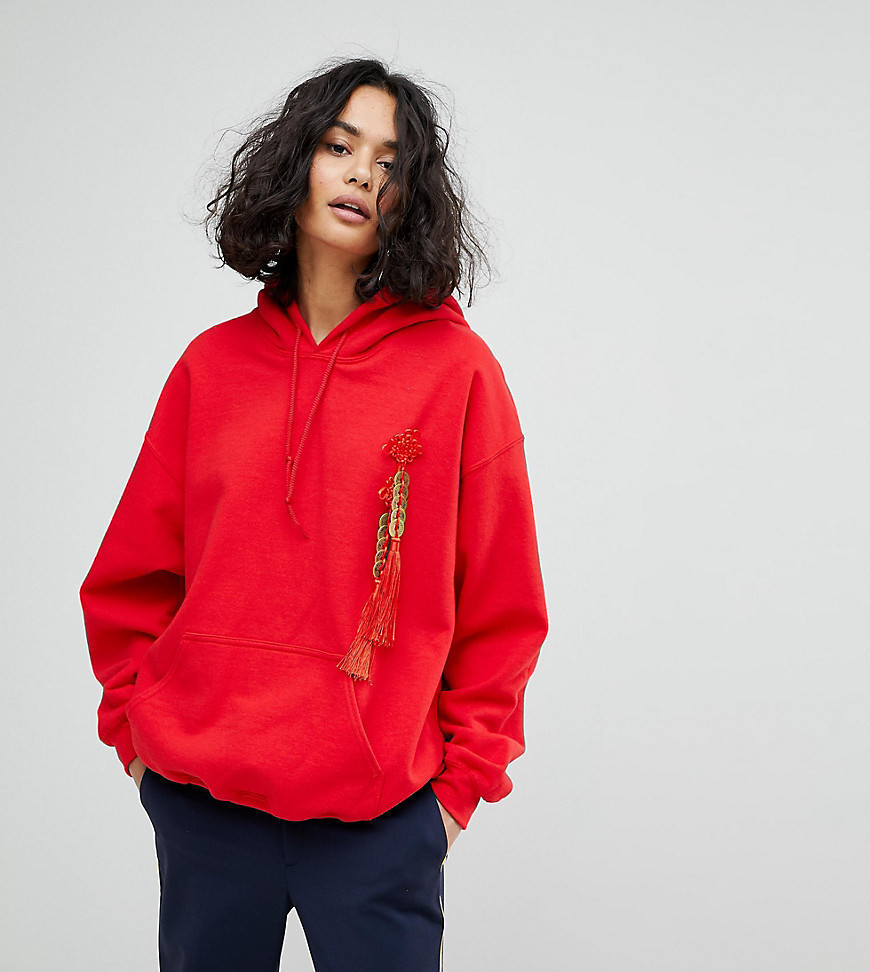 Reclaimed Vintage Inspired Oversized Hoodie With Coin Embellishment - Red