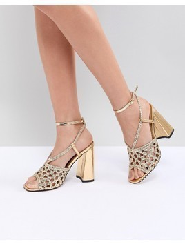 ASOS DESIGN Helix Woven Heeled Sandals - Gold