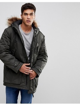 Celio Parka With Faux Fur Hood In Khaki - Green