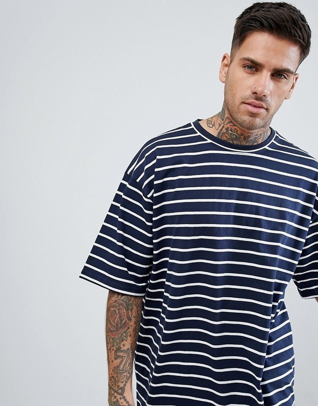 boohooMAN Oversized T-Shirt In Navy Stripe - Navy
