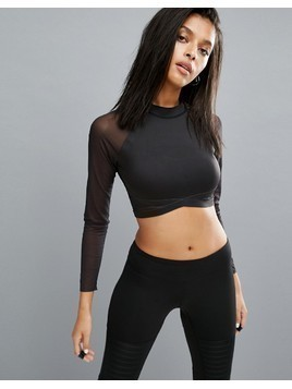 Reebok Long Sleeve Mesh Crop Top - Black