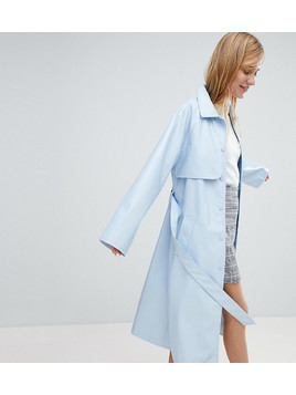 Monki Vinyl Trench Coat - Blue