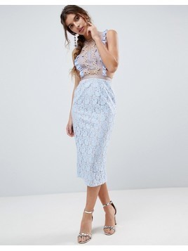 ASOS Lace Pencil Midi Dress with Frill Pinny Bodice - Blue