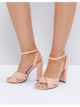 The March Twist Front Dusky Pink Block Heeled Sandals - Pink