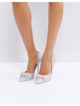 True Decadence Silver Glitter Bow Detail Court Shoes - Silver