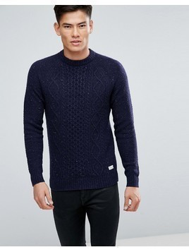 Jack Wills Ditteridge Donegal Cable Knit Jumper In Navy - Navy