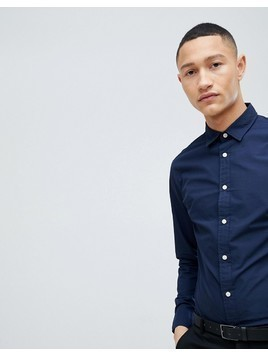 Selected Homme Slim Contrast Button Shirt - Navy