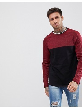 ASOS Longline Long Sleeve T-Shirt With Colour Block In Interest Fabric - Red