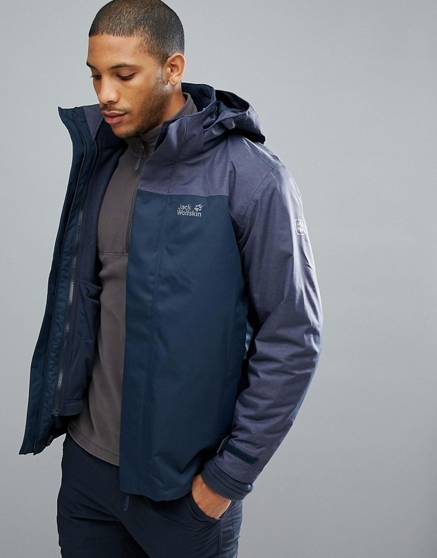 Jack Wolfskin Echo 3 in 1 Jacket in Navy - Navy