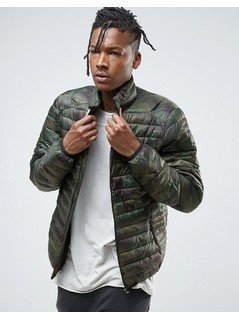 Pull&Bear Quilted Jacket In Khaki Camo - Green