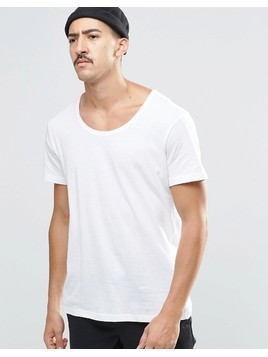 Weekday Daniel Scoop Neck T-Shirt in White - White