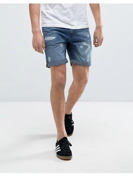 Produkt Denim Shorts With Distressing - Blue