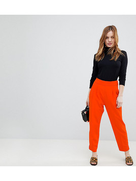 ASOS PETITE High Waist Tapered Trousers - Orange