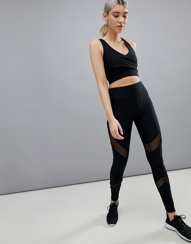 South Beach Mesh Insert Legging - Black