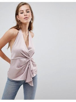 ASOS DESIGN Halter Top With Origami Plunge - Gold