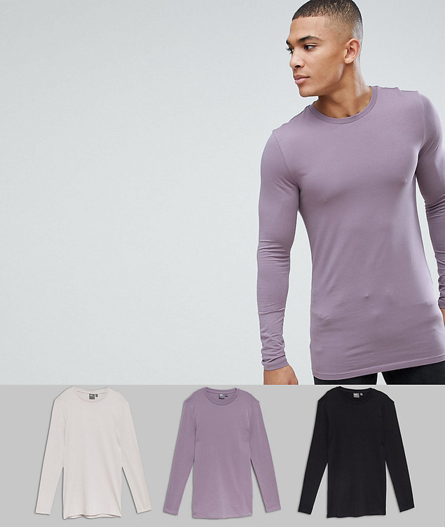 ASOS 3 Pack Muscle Fit Longline Long Sleeve Crew Neck T-Shirt SAVE - Multi