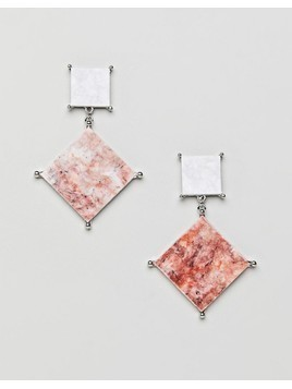 ASOS earrings with coloured marble effect recycled cotton stone - Silver