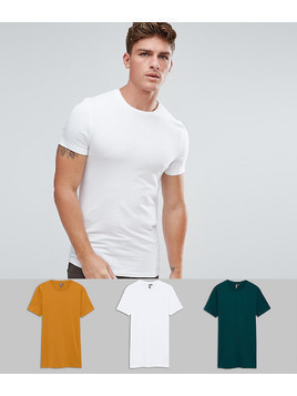 ASOS Longline Muscle Fit T-Shirt With Crew Neck 3 Pack SAVE - Multi
