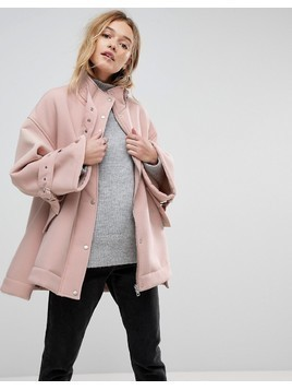 ASOS Bonded Jacket with Borg Lining and Metalwear - Pink
