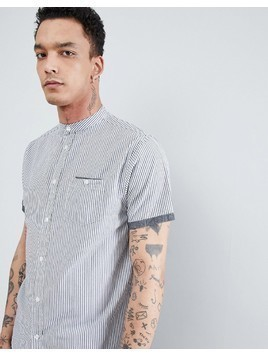 Process Black Short Sleeve Pinstripe Shirt - Grey