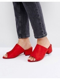 Truffle Collection Mid Heel Mule Sandals - Red