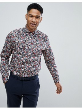 Selected Homme Slim Fit Smart Shirt With All Over Print - Navy