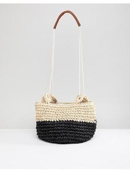 Chateau Black and White Colourblock Woven Bag - Black