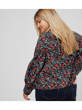 Influence Plus High Neck Floral Top With Lace Yoke And Blouson Sleeve - Multi